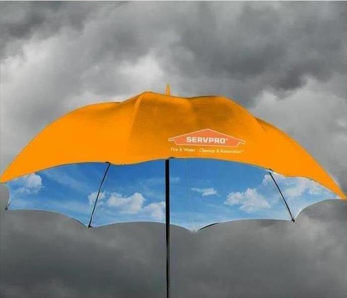 An umbrella that has a SERVPRO logo on it