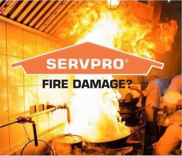 "A kitchen fire with SERVPRO's logo across the image and ""Fire Damage?"" ask underneath the logo"